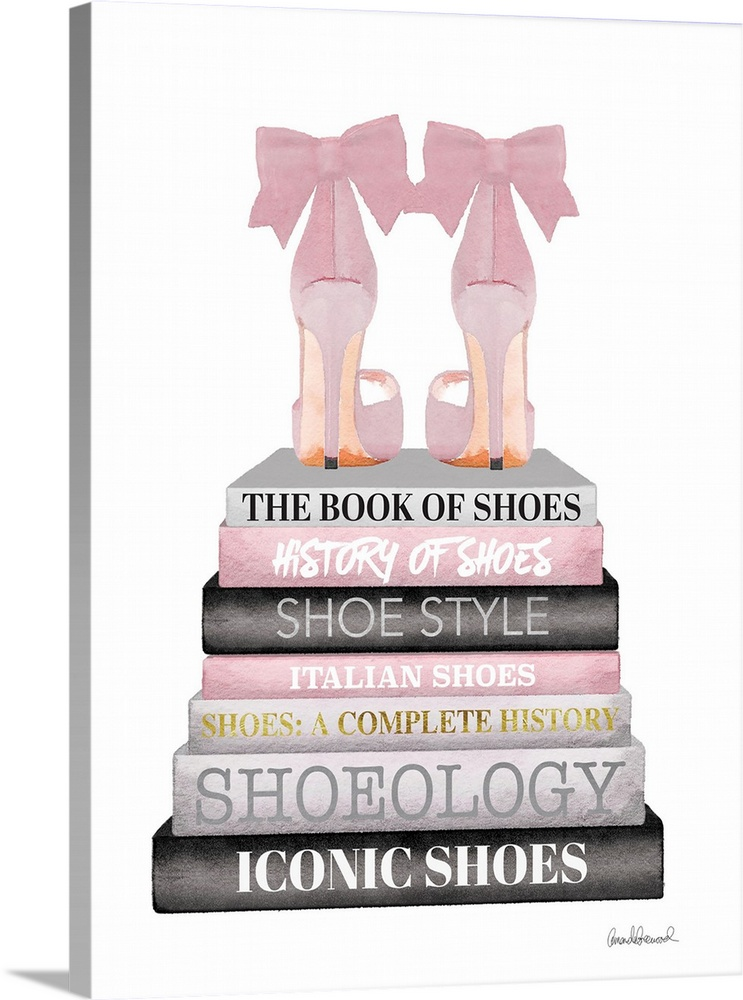 Large Solid-Faced Canvas Print Wall Art Print 18 x 24 entitled Pink Bookstack Shoe Solid-Faced Canvas Print entitled Pink Bookstack Shoe.  Shoes sit atop a stack of designer books.  Multiple sizes available.  Primary colors within this image include Dark Gray, Gray, White.  Made in USA.  Satisfaction guaranteed.  Inks used are latex-based and designed to last.  Canvas depth is 1.25 and includes a finished backing with pre-installed hanging hardware.  Featuring a proprietary design, our canvases produce the tightest corners without any bubbles, ripples, or bumps and will not warp or sag over time.