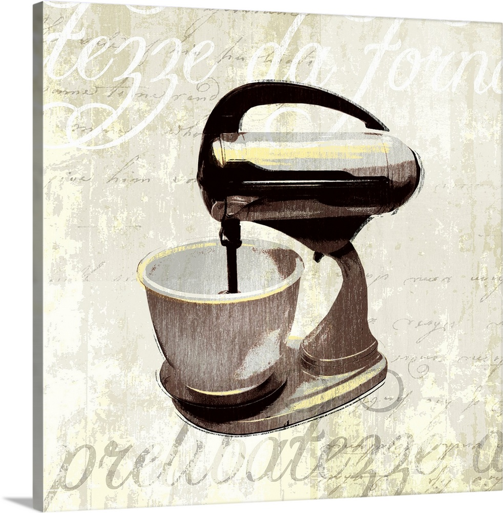 Large Gallery-Wrapped Canvas Wall Art Print 16 x 16 entitled Kitchen Help IV Gallery-Wrapped Canvas entitled Kitchen Help IV.  Decorative artwork of a kitchen mixer on a beige backdrop that has distressed text in white and gray. .  Multiple sizes available.  Primary colors within this image include Black Gray White.  Made in the USA.  Satisfaction guaranteed.  Archival-quality UV-resistant inks.  Canvas is designed to prevent fading.  Canvases have a UVB protection built in to protect against fading and moisture and are designed to last for over 100 years.