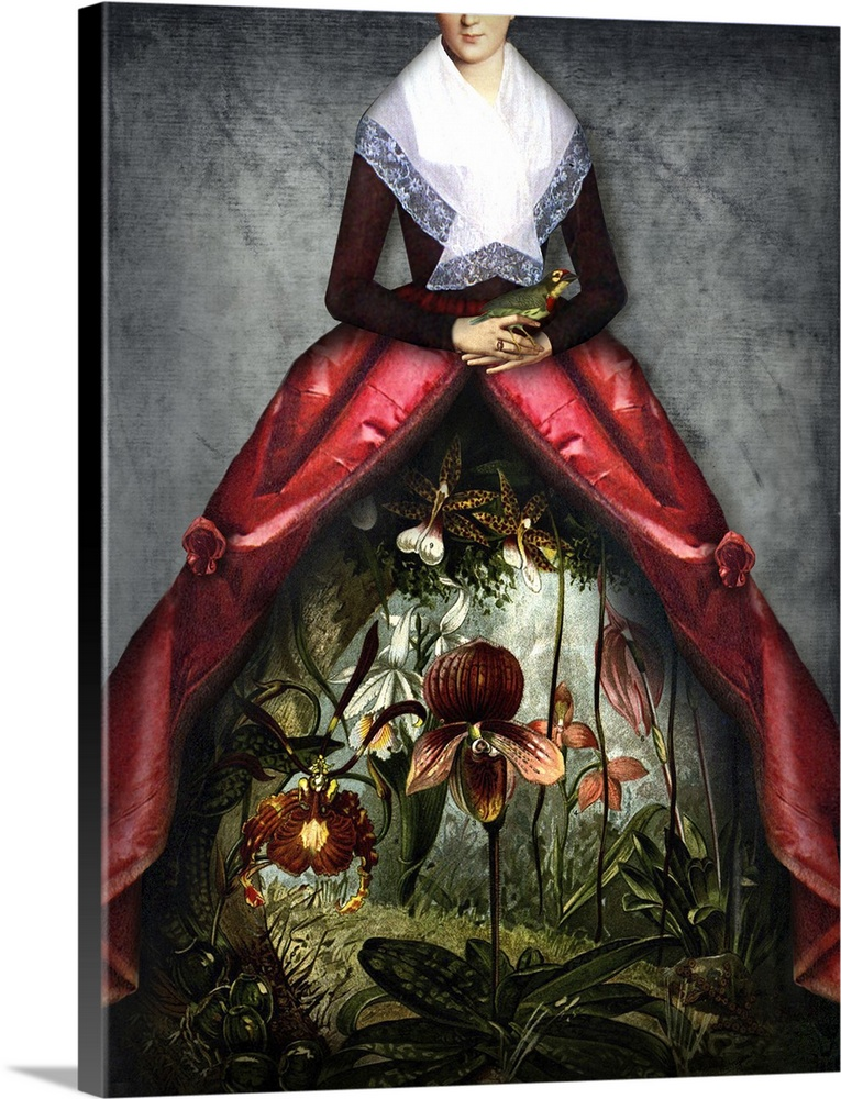Large Solid-Faced Canvas Print Wall Art Print 18 x 24 entitled Her Garden Solid-Faced Canvas Print entitled Her Garden.  Digital composite of a woman in Victorian clothes with a floral garden scene peeping through the front of the dress.  Multiple sizes available.  Primary colors within this image include Pink, Black, Light Gray, White.  Made in the USA.  Satisfaction guaranteed.  Archival-quality UV-resistant inks.  Canvas is handcrafted and made-to-order in the United States using high quality artist-grade canvas.  Featuring a proprietary design, our canvases produce the tightest corners without any bubbles, ripples, or bumps and will not warp or sag over time.