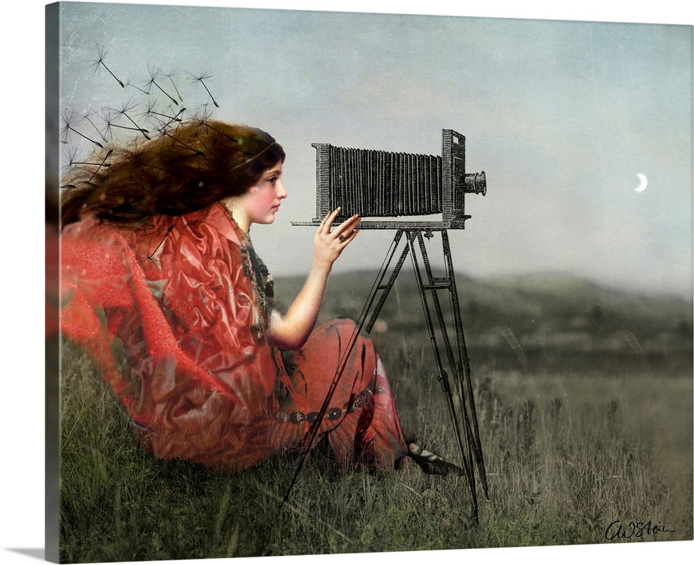 Large Solid-Faced Canvas Print Wall Art Print 30 x 24 entitled the Observer Solid-Faced Canvas Print entitled the Observer.  A digital composite of a female in a field using a view camera.  .  Multiple sizes available.  Primary colors within this image include Brown, Black, Gray, Silver.  Made in USA.  Satisfaction guaranteed.  Inks used are latex-based and designed to last.  Canvas depth is 1.25 and includes a finished backing with pre-installed hanging hardware.  Canvas is handcrafted and made-to-order in the United States using high quality artist-grade canvas.