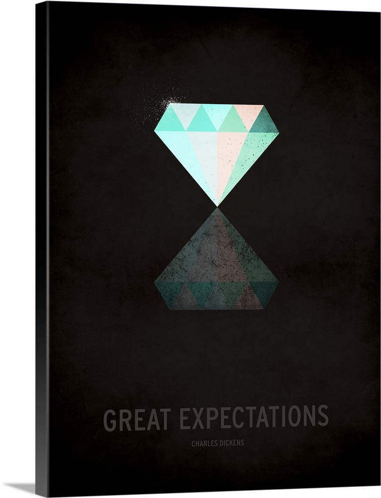 Large Gallery-Wrapped Canvas Wall Art Print 17 x 24 entitled Great Expectations Gallery-Wrapped Canvas entitled Great Expectations.  Contemporary minimalist literature inspired poster art for Great Expectations.  Multiple sizes available.  Primary colors within this image include Black White.  Made in USA.  Satisfaction guaranteed.  Inks used are latex-based and designed to last.  Canvas is a 65 polyester 35 cotton base with two acrylic latex primer basecoats and a semi-gloss inkjet receptive topcoat.  Canvases have a UVB protection built in to protect against fading and moisture and are designed to last for over 100 years.