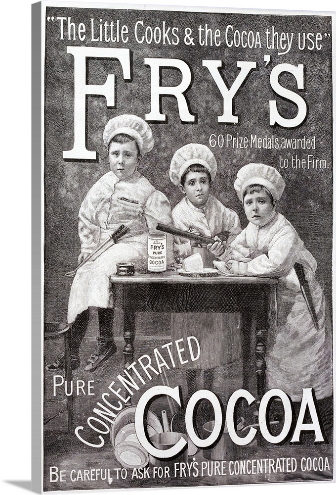 Large Solid-Faced Canvas Print Wall Art Print 20 x 30 entitled Advertisement For Fry's Cocoa Solid-Faced Canvas Print entitled Advertisement For Frys Cocoa.  Advertisement for Frys Cocoa. Shows children in chefs clothing round a kitchen table.  Multiple sizes available.  Primary colors within this image include Black, Light Gray, White.  Made in the USA.  All products come with a 365 day workmanship guarantee.  Inks used are latex-based and designed to last.  Canvas depth is 1.25 and includes a finished backing with pre-installed hanging hardware.  Archival inks prevent fading and preserve as much fine detail as possible with no over-saturation or color shifting.