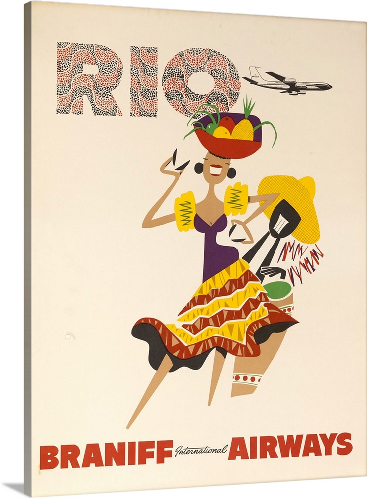 Large Gallery-Wrapped Canvas Wall Art Print 18 x 24 entitled Braniff Airways Travel Poster, Rio De Janiero, Dancer Gallery-Wrapped Canvas entitled Braniff Airways Travel Poster Rio De Janiero Dancer.  ca 1960s Rio de Janiero Brazil Braniff travel poster showing woman in tropical skirt with basket of fruit on her head.  Multiple sizes available.  Primary colors within this image include Yellow Dark Red White Muted Blue.  Made in the USA.  All products come with a 365 day workmanship guarantee.  Archival-quality UV-resistant inks.  Canvas frames are built with farmed or reclaimed domestic pine or poplar wood.  Museum-quality artist-grade canvas mounted on sturdy wooden stretcher bars 1.5 thick.  Comes ready to hang.