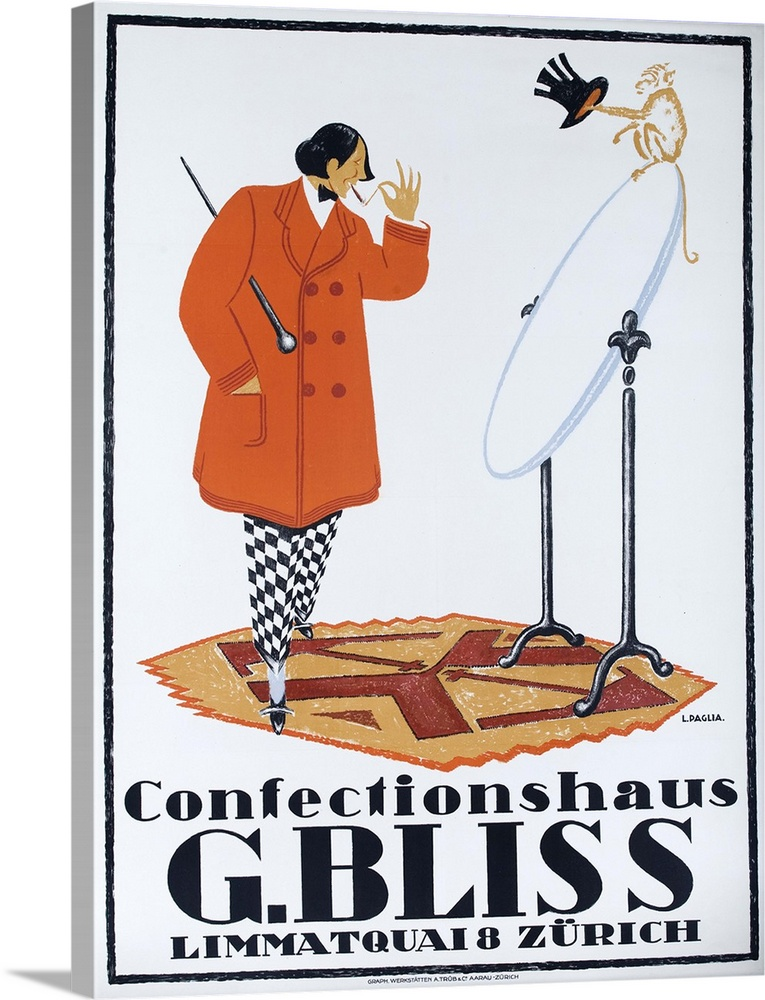 Large Gallery-Wrapped Canvas Wall Art Print 17 x 24 entitled Confectionshaus G. Bliss Zurich, Swiss Clothing Advertising P... Gallery-Wrapped Canvas entitled Confectionshaus G. Bliss Zurich, Swiss Clothing Advertising Poster.  Stylish dandy looks at himself in a mirror in Swiss 1915 advertising poster illustrated by L. PAGLIA.  Multiple sizes available.  Primary colors within this image include Dark Red, Peach, White, Dark Navy Blue.  Made in USA.  All products come with a 365 day workmanship guarantee.  Archival-quality UV-resistant inks.  Museum-quality, artist-grade canvas mounted on sturdy wooden stretcher bars 1.5 thick.  Comes ready to hang.  Canvas is designed to prevent fading.