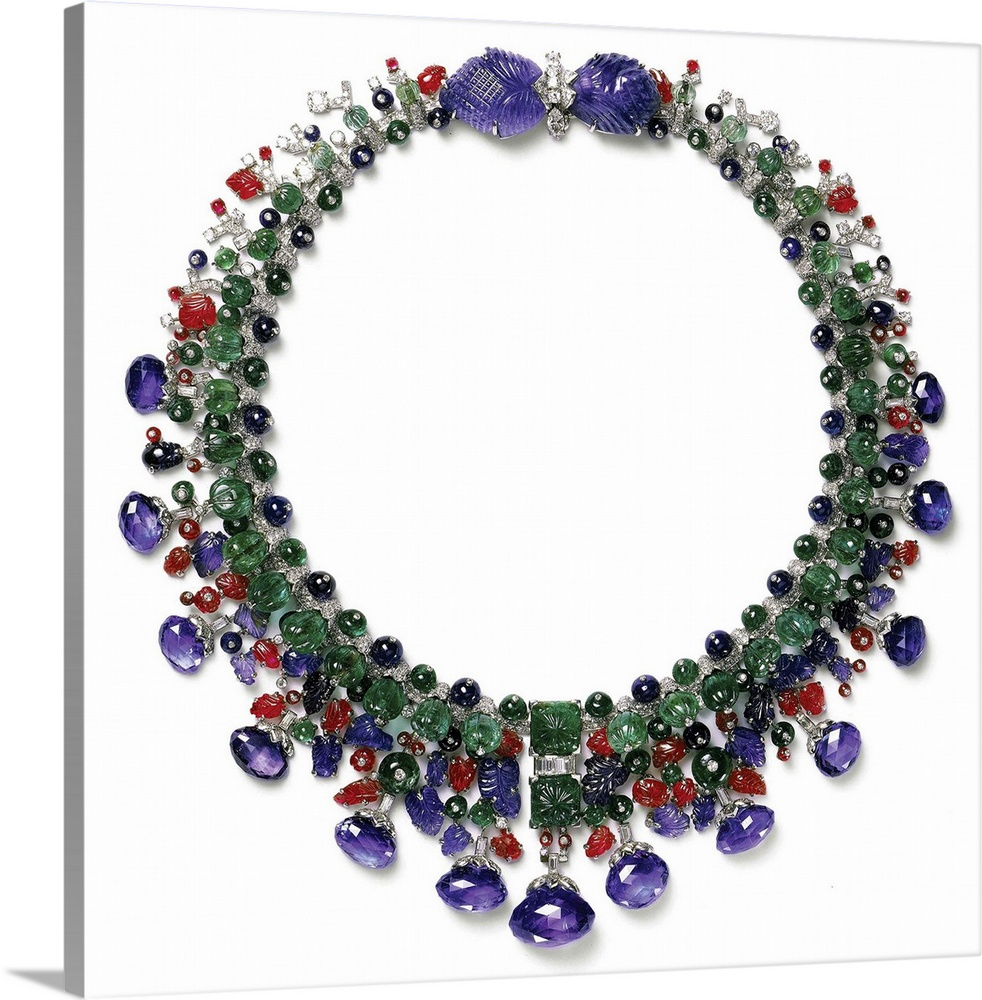 Large Gallery-Wrapped Canvas Wall Art Print 16 x 16 entitled Gemstone Necklace With Amethyst, Ruby, Emerald And Diamond Gallery-Wrapped Canvas entitled Gemstone Necklace With Amethyst, Ruby, Emerald And Diamond.  Cartier, 20th century. Private collection.  Multiple sizes available.  Primary colors within this image include Dark Red, Black, Light Gray, White.  Made in USA.  Satisfaction guaranteed.  Inks used are latex-based and designed to last.  Canvas is designed to prevent fading.  Canvas frames are built with farmed or reclaimed domestic pine or poplar wood.