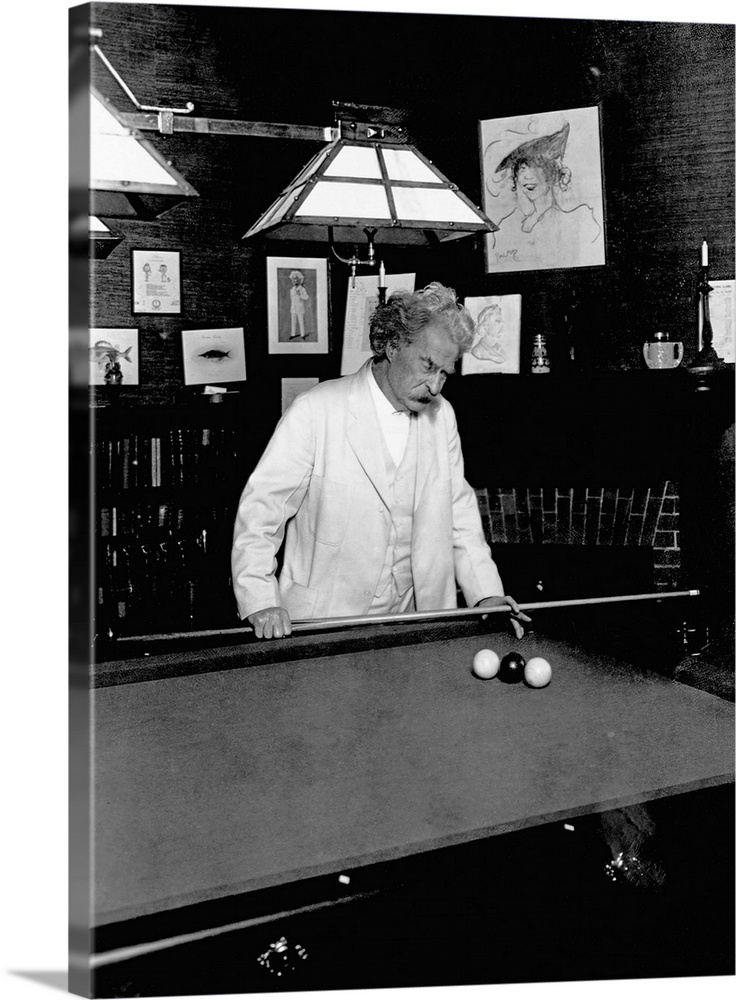 Large Gallery-Wrapped Canvas Wall Art Print 17 x 24 entitled Mark Twain Playing Game Of Pool Gallery-Wrapped Canvas entitled Mark Twain Playing Game Of Pool.  Multiple sizes available.  Primary colors within this image include Black, Gray, Silver.  Made in the USA.  All products come with a 365 day workmanship guarantee.  Archival-quality UV-resistant inks.  Canvas frames are built with farmed or reclaimed domestic pine or poplar wood.  Canvas is a 65 polyester, 35 cotton base, with two acrylic latex primer basecoats and a semi-gloss inkjet receptive topcoat.