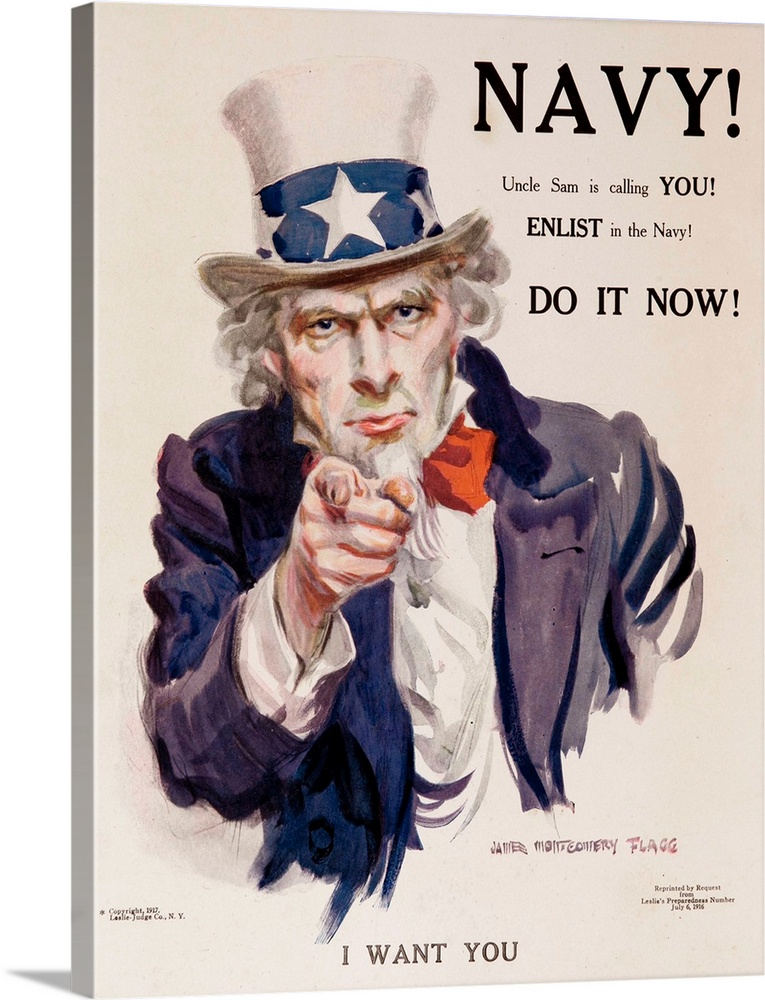 Large Gallery-Wrapped Canvas Wall Art Print 18 x 24 entitled Navy! Uncle Sam Is Calling You! American Wwi Recruiting Poster Gallery-Wrapped Canvas entitled Navy Uncle Sam Is Calling You American Wwi Recruiting Poster.  1917 World War One Navy Recruiting Poster, Uncle Sam, in red white and blue clothing, points at the viewer, with the command I WANT YOU. Illustrated by James Montgomery Flagg.  Multiple sizes available.  Primary colors within this image include Brown, Gray, Silver, Dark Navy Blue.  Made in USA.  All products come with a 365 day workmanship guarantee.  Archival-quality UV-resistant inks.  Museum-quality, artist-grade canvas mounted on sturdy wooden stretcher bars 1.5 thick.  Comes ready to hang.  Canvas frames are built with farmed or reclaimed domestic pine or poplar wood.