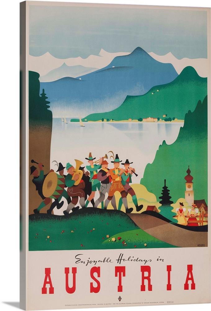 Large Gallery-Wrapped Canvas Wall Art Print 16 x 24 entitled Romantic Holiday In Austria Travel Poster Gallery-Wrapped Canvas entitled Romantic Holiday In Austria Travel Poster.  A musical band in traditional clothing parades in front of a lakeside town. ca 1950s.  Multiple sizes available.  Primary colors within this image include Dark Red, Dark Gray, Silver, Dark Forest Green.  Made in the USA.  All products come with a 365 day workmanship guarantee.  Archival-quality UV-resistant inks.  Museum-quality, artist-grade canvas mounted on sturdy wooden stretcher bars 1.5 thick.  Comes ready to hang.  Canvas is acid-free and 20 millimeters thick.