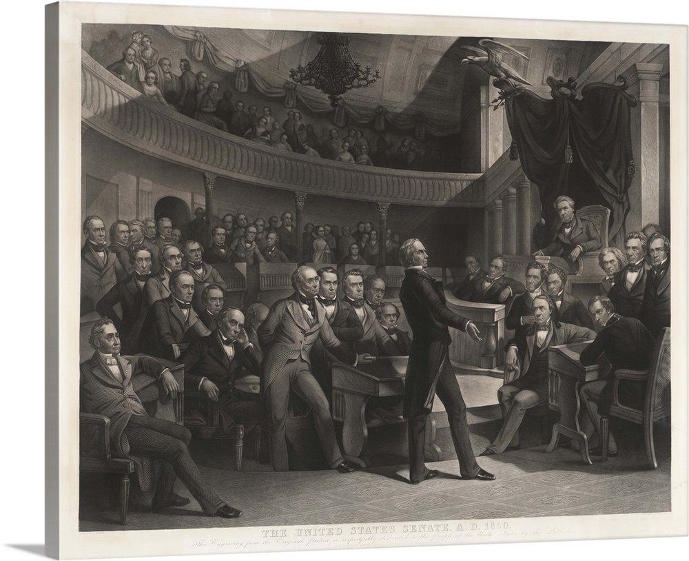 Large Gallery-Wrapped Canvas Wall Art Print 24 x 19 entitled Senator Henry Clay Speaking Before The United States Senate Gallery-Wrapped Canvas entitled Senator Henry Clay Speaking Before The United States Senate.  The United States Senate, 1850, by P. F. Rothermel, engraved by R. Whitechurch, published in Philadelphia by John M. Butler and Alfred Long, 1855, engraving, 30 38 x 37 12 in. Shows Senator Henry Clay speaking about the Compromise of 1850 in the Old Senate Chamber. Daniel Webster is seated to the left of Clay and John C. Calhoun to the left of the Speakers chair.  Multiple sizes available.  Primary colors within this image include Dark Gray, White.  Made in the USA.  Satisfaction guaranteed.  Archival-quality UV-resistant inks.  Canvas is acid-free and 20 millimeters thick.  Canvases have a UVB protection built in to protect against fading and moisture and are designed to last for over 100 years.