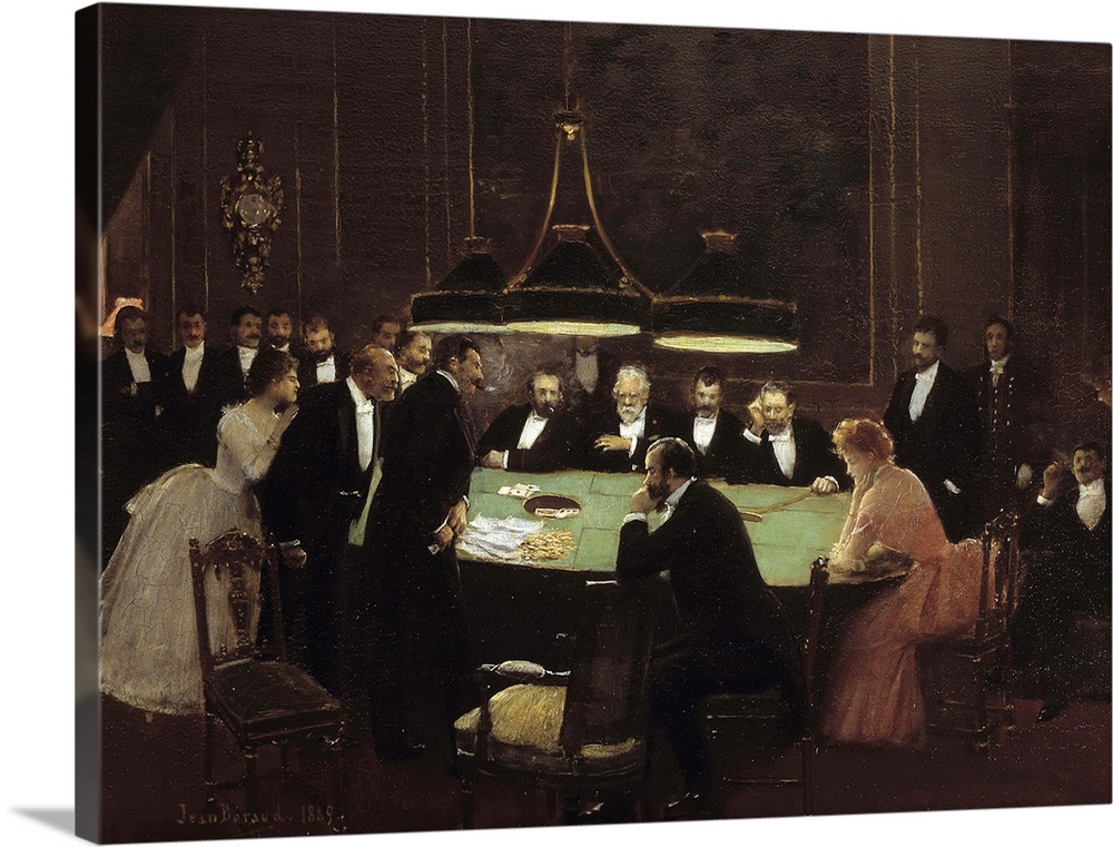 Large Gallery-Wrapped Canvas Wall Art Print 24 x 18 entitled The Gaming Room at the Casino, 1889, by Jean Beraud Gallery-Wrapped Canvas entitled The Gaming Room at the Casino, 1889, by Jean Beraud.  The Game Room. Croupiers and men in dark suits around a gaming table playing roulette in a casino. Painting by Jean Beraud 1849-1935 1889. 0,38 x 0,53 m. Carnavalet Museum, Paris.  Multiple sizes available.  Primary colors within this image include Black, Gray, White.  Made in the USA.  All products come with a 365 day workmanship guarantee.  Inks used are latex-based and designed to last.  Canvas is acid-free and 20 millimeters thick.  Canvas is a 65 polyester, 35 cotton base, with two acrylic latex primer basecoats and a semi-gloss inkjet receptive topcoat.