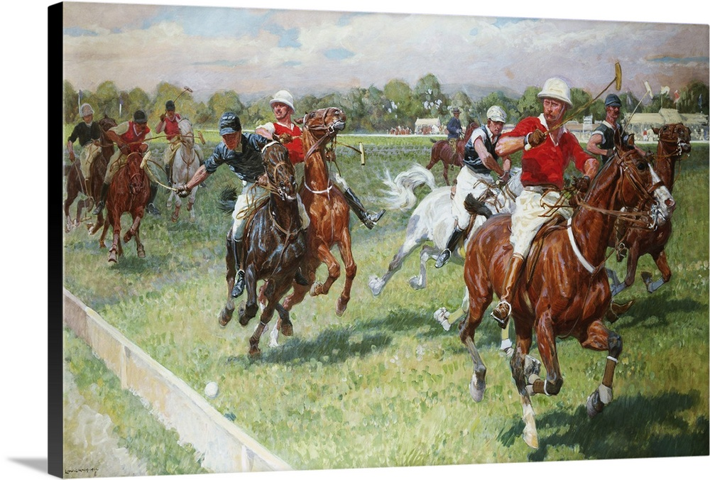 Large Gallery-Wrapped Canvas Wall Art Print 24 x 16 entitled The Polo Game by Ludwig Koch Gallery-Wrapped Canvas entitled The Polo Game by Ludwig Koch.  Multiple sizes available.  Primary colors within this image include Dark Red, Dark Yellow, Dark Gray, Silver.  Made in USA.  All products come with a 365 day workmanship guarantee.  Archival-quality UV-resistant inks.  Canvas frames are built with farmed or reclaimed domestic pine or poplar wood.  Canvas is designed to prevent fading.
