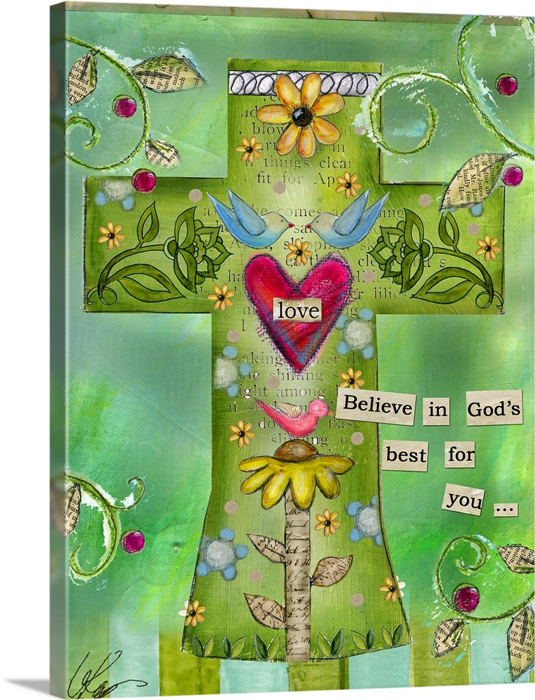Large Solid-Faced Canvas Print Wall Art Print 30 x 40 entitled Cross - Love Solid-Faced Canvas Print entitled Cross - Love.  A mixed media Christian artwork depicting a cross filled with elements of love such as flowers, hearts, and birds, with the text Believe in Gods best for you..  Multiple sizes available.  Primary colors within this image include Yellow, Forest Green, Peach, Black.  Made in the USA.  All products come with a 365 day workmanship guarantee.  Inks used are latex-based and designed to last.  Canvas depth is 1.25 and includes a finished backing with pre-installed hanging hardware.  Featuring a proprietary design, our canvases produce the tightest corners without any bubbles, ripples, or bumps and will not warp or sag over time.