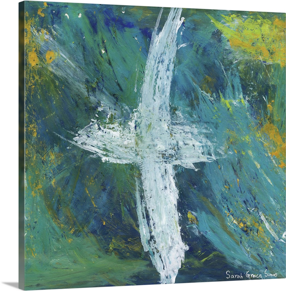 Large Solid-Faced Canvas Print Wall Art Print 20 x 20 entitled Cross of Love I Solid-Faced Canvas Print entitled Cross of Love I.  Simple yet striking cross art with impactful beauty.  Multiple sizes available.  Primary colors within this image include Light Green, Gray, Silver, Muted Blue.  Made in the USA.  Satisfaction guaranteed.  Inks used are latex-based and designed to last.  Canvas depth is 1.25 and includes a finished backing with pre-installed hanging hardware.  Archival inks prevent fading and preserve as much fine detail as possible with no over-saturation or color shifting.