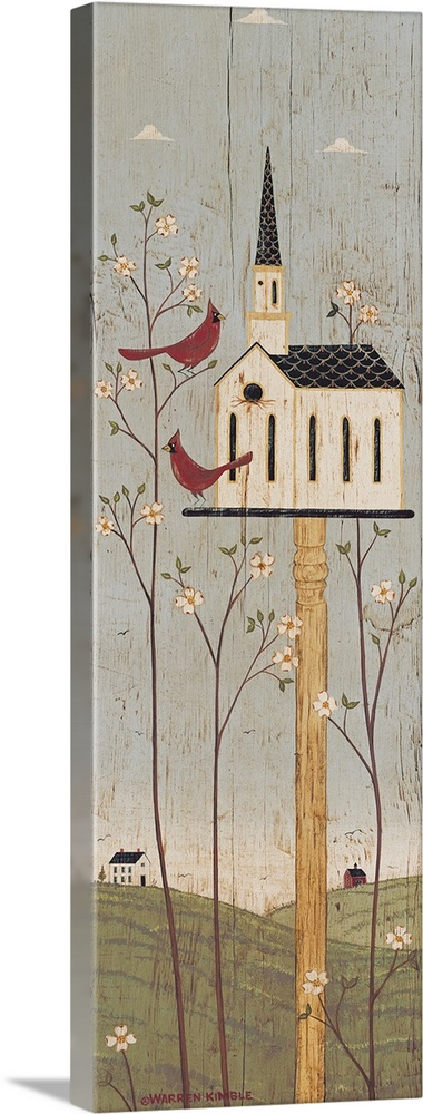 Large Solid-Faced Canvas Print Wall Art Print 16 x 48 entitled Dogwood Time Solid-Faced Canvas Print entitled Dogwood Time.  Americana birdhouse panel by renowned artist Warren Kimble.  Multiple sizes available.  Primary colors within this image include Pink, Dark Gray, Light Gray.  Made in USA.  Satisfaction guaranteed.  Inks used are latex-based and designed to last.  Archival inks prevent fading and preserve as much fine detail as possible with no over-saturation or color shifting.  Featuring a proprietary design, our canvases produce the tightest corners without any bubbles, ripples, or bumps and will not warp or sag over time.