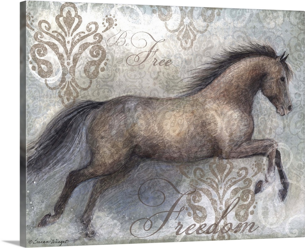 Large Solid-Faced Canvas Print Wall Art Print 45 x 36 entitled Freedom Horse Solid-Faced Canvas Print entitled Freedom Horse.  Stunning depiction of this beautiful creature called the horse.  Multiple sizes available.  Primary colors within this image include Black, Gray, White.  Made in the USA.  Satisfaction guaranteed.  Archival-quality UV-resistant inks.  Canvas is handcrafted and made-to-order in the United States using high quality artist-grade canvas.  Archival inks prevent fading and preserve as much fine detail as possible with no over-saturation or color shifting.