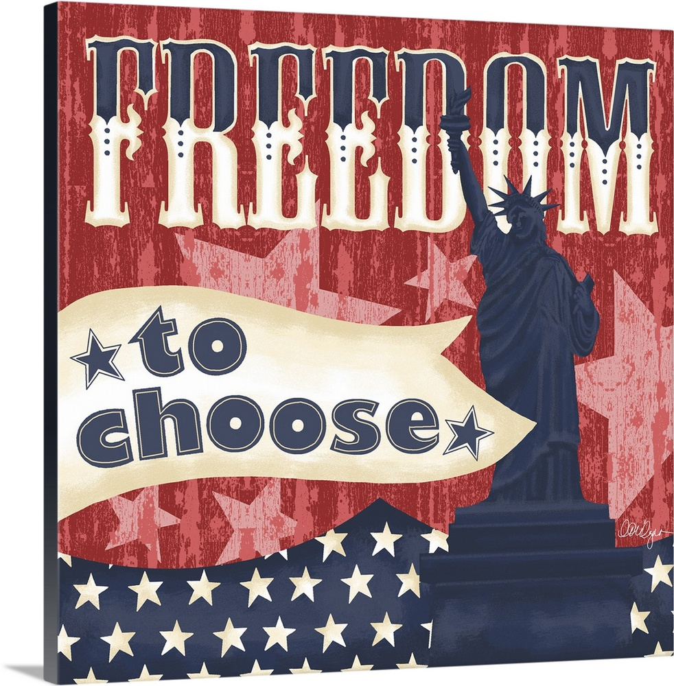 Large Solid-Faced Canvas Print Wall Art Print 24 x 24 entitled Freedom To Choose Solid-Faced Canvas Print entitled Freedom To Choose.  Celebrate America and our freedoms with this election-inspired art.  Multiple sizes available.  Primary colors within this image include Dark Red, White, Muted Blue.  Made in USA.  Satisfaction guaranteed.  Inks used are latex-based and designed to last.  Canvas depth is 1.25 and includes a finished backing with pre-installed hanging hardware.  Canvas is handcrafted and made-to-order in the United States using high quality artist-grade canvas.