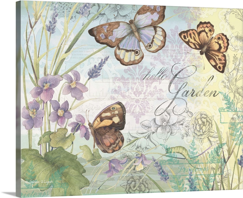 Large Solid-Faced Canvas Print Wall Art Print 30 x 24 entitled Hello Garden - Butterflies Solid-Faced Canvas Print entitled Hello Garden - Butterflies.  Lovely botanical butterfly art subtly infuses nature into the home.  Multiple sizes available.  Primary colors within this image include Black, Gray, White.  Made in the USA.  All products come with a 365 day workmanship guarantee.  Inks used are latex-based and designed to last.  Featuring a proprietary design, our canvases produce the tightest corners without any bubbles, ripples, or bumps and will not warp or sag over time.  Canvas is handcrafted and made-to-order in the United States using high quality artist-grade canvas.