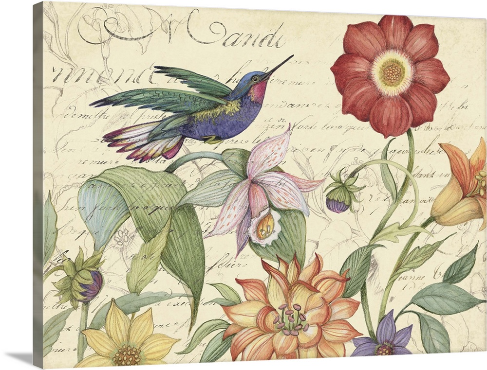 Large Solid-Faced Canvas Print Wall Art Print 40 x 30 entitled Hummingbird Garden Solid-Faced Canvas Print entitled Hummingbird Garden.  An elegant floral motif that works in any room of the home.  Multiple sizes available.  Primary colors within this image include Pink, Black, White, Muted Blue.  Made in USA.  All products come with a 365 day workmanship guarantee.  Inks used are latex-based and designed to last.  Canvas is handcrafted and made-to-order in the United States using high quality artist-grade canvas.  Canvas depth is 1.25 and includes a finished backing with pre-installed hanging hardware.