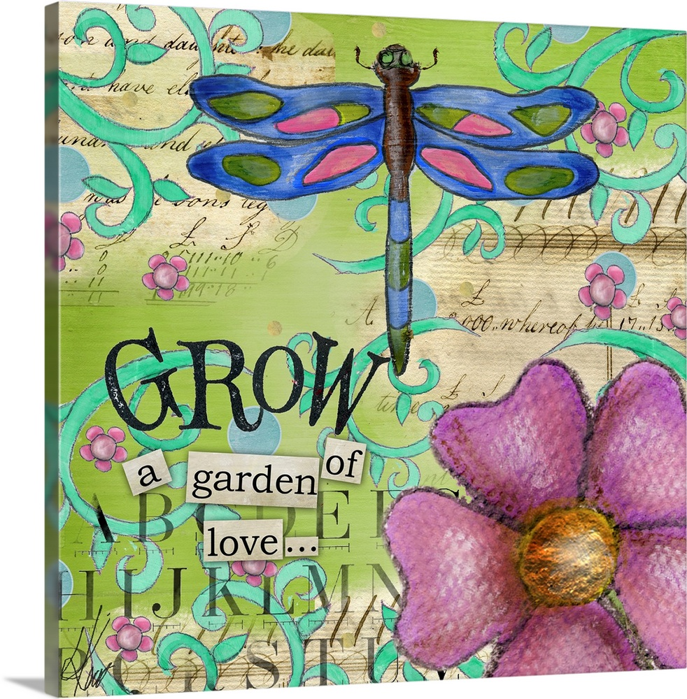 Large Solid-Faced Canvas Print Wall Art Print 20 x 20 entitled Inspiration Garden - Dragonfly Grow Solid-Faced Canvas Print entitled Inspiration Garden - Dragonfly Grow.  Colorful and inspirational way to bring nature into your home.  Multiple sizes available.  Primary colors within this image include Blue, Brown, Black, White.  Made in USA.  All products come with a 365 day workmanship guarantee.  Archival-quality UV-resistant inks.  Canvas is handcrafted and made-to-order in the United States using high quality artist-grade canvas.  Archival inks prevent fading and preserve as much fine detail as possible with no over-saturation or color shifting.