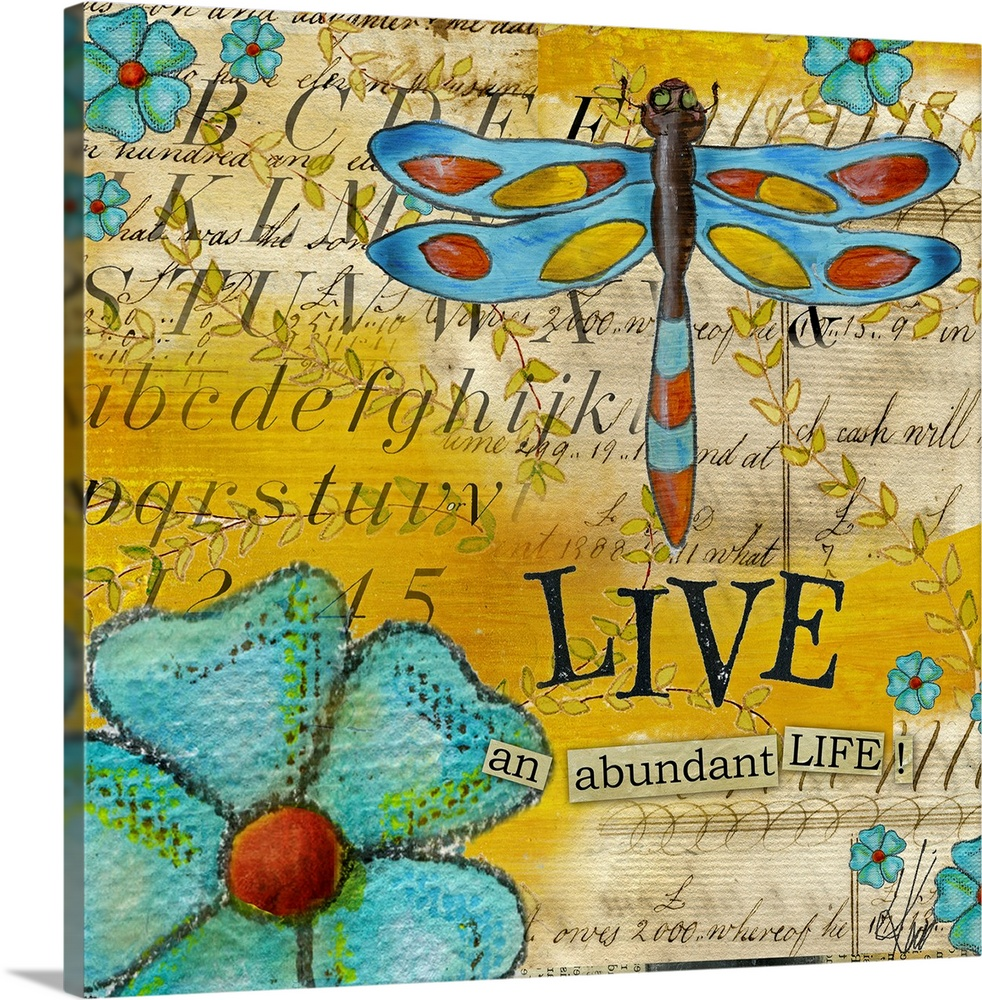 Large Solid-Faced Canvas Print Wall Art Print 20 x 20 entitled Inspiration Garden - Dragonfly Live Solid-Faced Canvas Print entitled Inspiration Garden - Dragonfly Live.  Square, oversized home art docor in vibrant colors, of various flowers and a large dragonfly over a background of collaged imagery and script text.  Beneath the dragonfly reads LIVE an abundant life.  Multiple sizes available.  Primary colors within this image include Brown, Dark Yellow, Black.  Made in the USA.  All products come with a 365 day workmanship guarantee.  Archival-quality UV-resistant inks.  Archival inks prevent fading and preserve as much fine detail as possible with no over-saturation or color shifting.  Canvas is handcrafted and made-to-order in the United States using high quality artist-grade canvas.