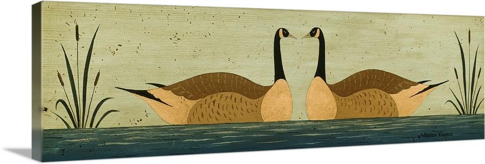 Canvas Kunst Drucken  Kissing Geese