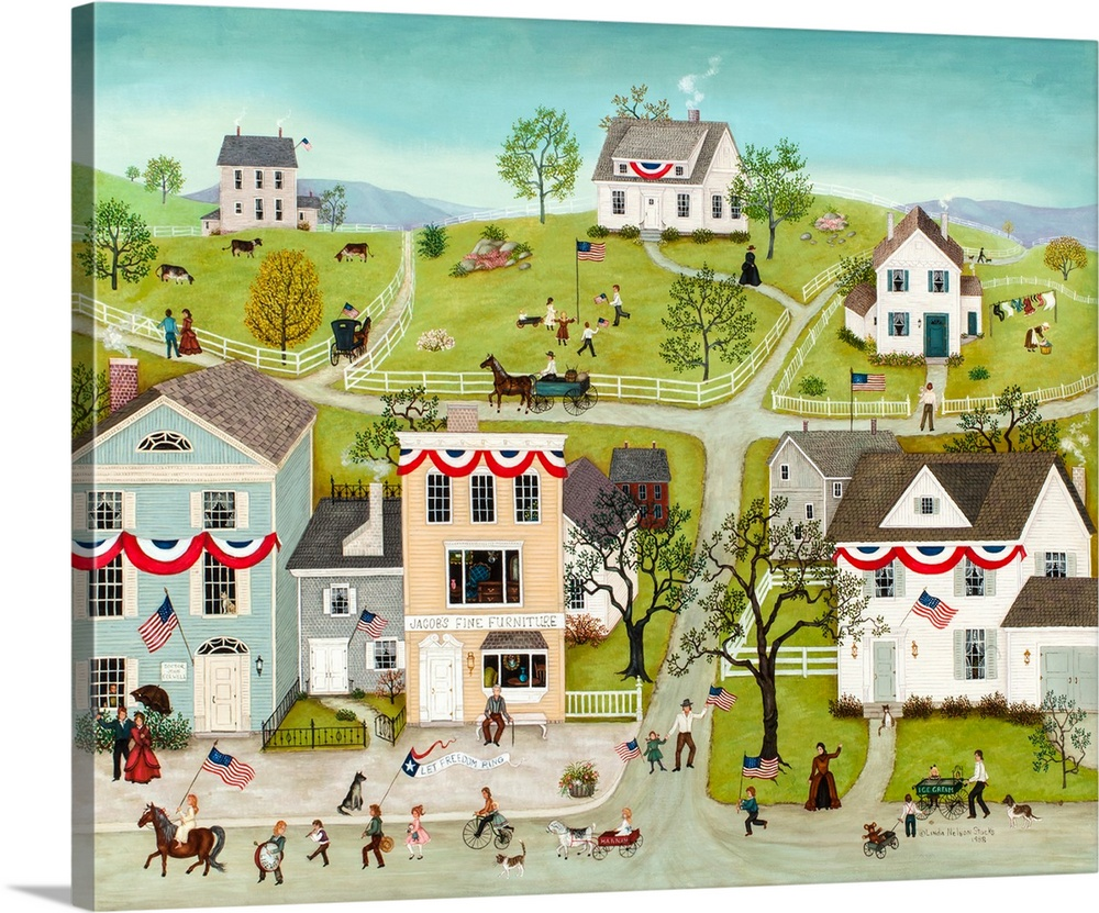 Large Solid-Faced Canvas Print Wall Art Print 45 x 36 entitled Let Freedom Ring Solid-Faced Canvas Print entitled Let Freedom Ring.  A contemporary painting of a countryside village scene.  Multiple sizes available.  Primary colors within this image include Red, Dark Yellow, White.  Made in the USA.  All products come with a 365 day workmanship guarantee.  Inks used are latex-based and designed to last.  Archival inks prevent fading and preserve as much fine detail as possible with no over-saturation or color shifting.  Featuring a proprietary design, our canvases produce the tightest corners without any bubbles, ripples, or bumps and will not warp or sag over time.