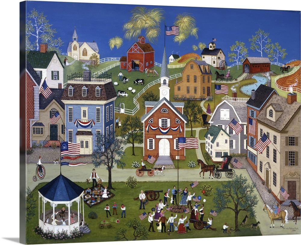 Large Solid-Faced Canvas Print Wall Art Print 45 x 36 entitled Let Freedom Ring Solid-Faced Canvas Print entitled Let Freedom Ring.  A contemporary painting of a countryside village scene.  Multiple sizes available.  Primary colors within this image include Dark Red, Dark Yellow, White, Muted Blue.  Made in USA.  All products come with a 365 day workmanship guarantee.  Archival-quality UV-resistant inks.  Archival inks prevent fading and preserve as much fine detail as possible with no over-saturation or color shifting.  Featuring a proprietary design, our canvases produce the tightest corners without any bubbles, ripples, or bumps and will not warp or sag over time.