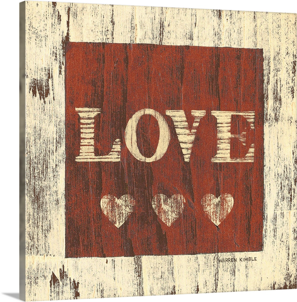 Large Solid-Faced Canvas Print Wall Art Print 20 x 20 entitled Love Solid-Faced Canvas Print entitled Love.  Inspirational artwork of the word LOVE with three hearts underneath in a red square painted over a wood panel texture.  Multiple sizes available.  Primary colors within this image include White, Dark Forest Green.  Made in the USA.  All products come with a 365 day workmanship guarantee.  Inks used are latex-based and designed to last.  Featuring a proprietary design, our canvases produce the tightest corners without any bubbles, ripples, or bumps and will not warp or sag over time.  Canvas depth is 1.25 and includes a finished backing with pre-installed hanging hardware.