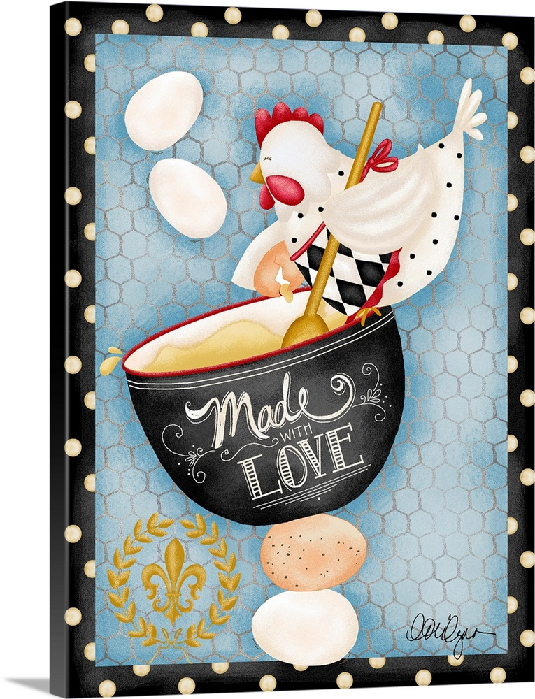 Large Solid-Faced Canvas Print Wall Art Print 30 x 40 entitled Made With Love Solid-Faced Canvas Print entitled Made With Love.  Whimsical hen with Made with Love message charming kitchen art.  Multiple sizes available.  Primary colors within this image include Dark Red, Peach, Black, Light Gray Blue.  Made in USA.  All products come with a 365 day workmanship guarantee.  Archival-quality UV-resistant inks.  Canvas is handcrafted and made-to-order in the United States using high quality artist-grade canvas.  Canvas depth is 1.25 and includes a finished backing with pre-installed hanging hardware.