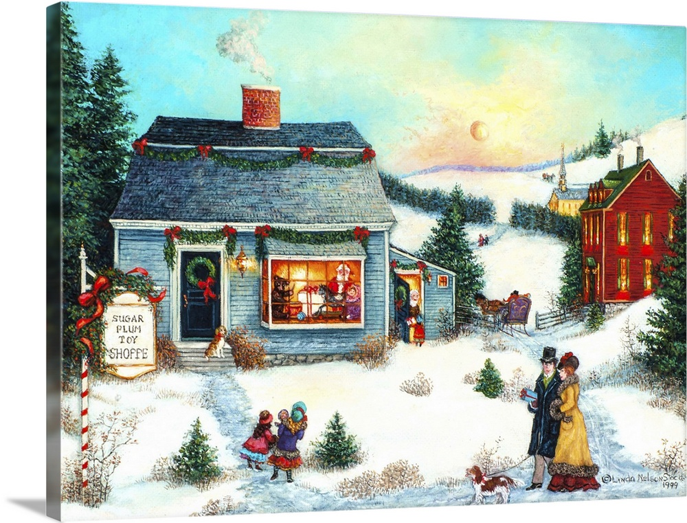 Large Solid-Faced Canvas Print Wall Art Print 40 x 30 entitled Sugar Plum Toy Shoppe Solid-Faced Canvas Print entitled Sugar Plum Toy Shoppe.  A contemporary painting of a countryside village scene at Christmas.  Multiple sizes available.  Primary colors within this image include Red, Light Yellow, Dark Gray, White.  Made in USA.  Satisfaction guaranteed.  Archival-quality UV-resistant inks.  Canvas depth is 1.25 and includes a finished backing with pre-installed hanging hardware.  Canvas is handcrafted and made-to-order in the United States using high quality artist-grade canvas.