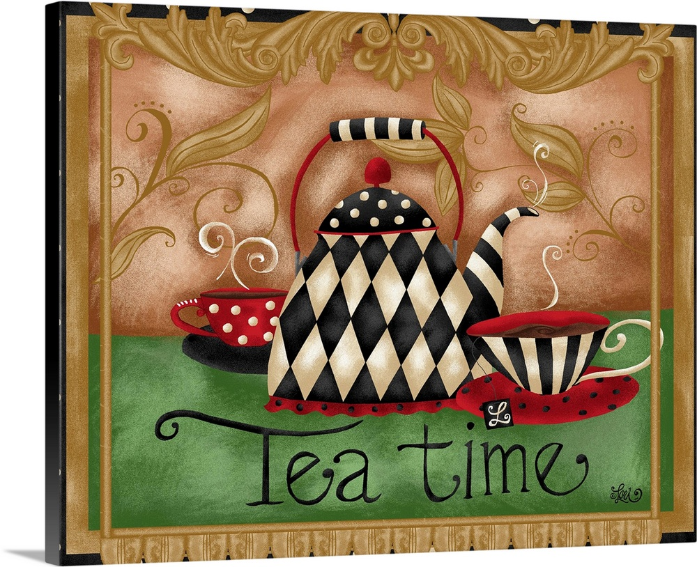 Large Solid-Faced Canvas Print Wall Art Print 30 x 24 entitled Tea Time Solid-Faced Canvas Print entitled Tea Time.  Tea for two creates a friendship-themed vignette great for kitchen decor.  Multiple sizes available.  Primary colors within this image include Dark Red, Brown, Black, Silver.  Made in USA.  All products come with a 365 day workmanship guarantee.  Inks used are latex-based and designed to last.  Archival inks prevent fading and preserve as much fine detail as possible with no over-saturation or color shifting.  Featuring a proprietary design, our canvases produce the tightest corners without any bubbles, ripples, or bumps and will not warp or sag over time.