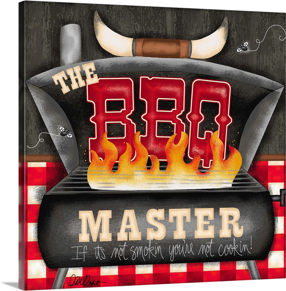Large Gallery-Wrapped Canvas Wall Art Print 16 x 16 entitled The BBQ Master Gallery-Wrapped Canvas entitled The BBQ Master.  Art that every Master of the Grill needs.  Multiple sizes available.  Primary colors within this image include Orange, Dark Red, Black, White.  Made in the USA.  All products come with a 365 day workmanship guarantee.  Inks used are latex-based and designed to last.  Canvas is acid-free and 20 millimeters thick.  Canvases have a UVB protection built in to protect against fading and moisture and are designed to last for over 100 years.