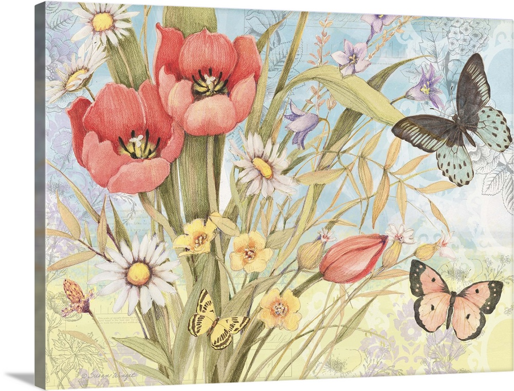 Large Solid-Faced Canvas Print Wall Art Print 40 x 30 entitled Tulip Garden Solid-Faced Canvas Print entitled Tulip Garden.  Lovely botanical butterfly art subtly infuses nature into the home.  Multiple sizes available.  Primary colors within this image include Pink, Gray, White, Muted Blue.  Made in the USA.  All products come with a 365 day workmanship guarantee.  Archival-quality UV-resistant inks.  Canvas depth is 1.25 and includes a finished backing with pre-installed hanging hardware.  Canvas is handcrafted and made-to-order in the United States using high quality artist-grade canvas.