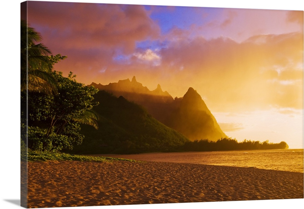 Solid-Faced Canvas Print Wall Art entitled Evening light on Na Pali Coast spires