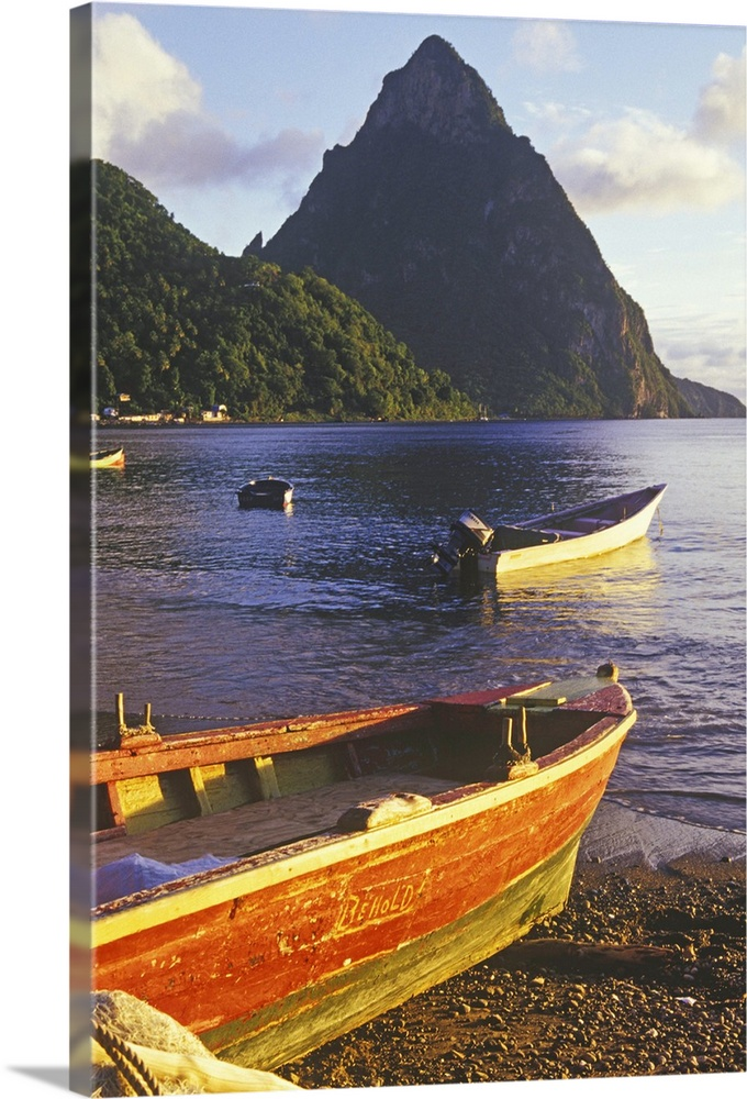 Solid-Faced toile Print Wall Art entitled Fishing boats and Petit Piton,