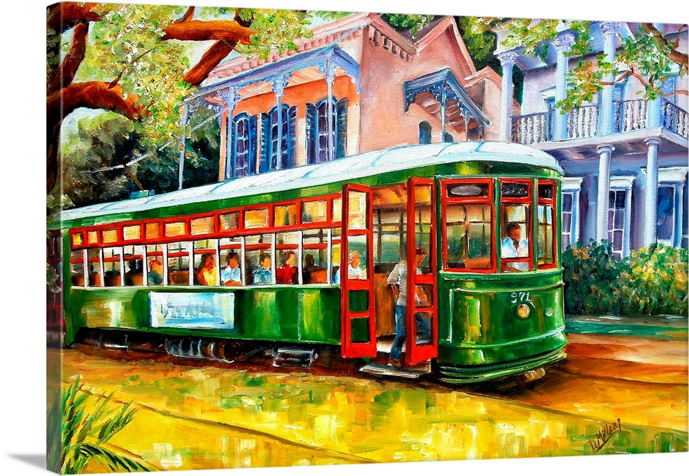 Large Solid-Faced Canvas Print Wall Art Print 30 x 20 entitled Streetcar in the Garden District Solid-Faced Canvas Print entitled Streetcar in the Garden District.  Contemporary landscape painting of a New Orleans street lined with beautiful homes.  Multiple sizes available.  Primary colors within this image include Yellow, Brown, Forest Green, Black.  Made in the USA.  Satisfaction guaranteed.  Archival-quality UV-resistant inks.  Archival inks prevent fading and preserve as much fine detail as possible with no over-saturation or color shifting.  Canvas is handcrafted and made-to-order in the United States using high quality artist-grade canvas.