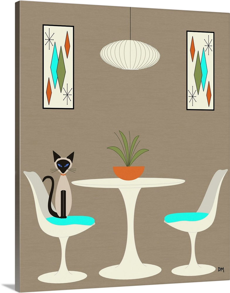 Solid-Faced Canvas Print Wall Art entitled Knoll Table 2 with Siamese