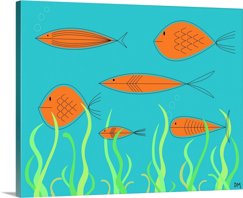 Solid-Faced Canvas Print Wall Art entitled Mid Century Fish 2