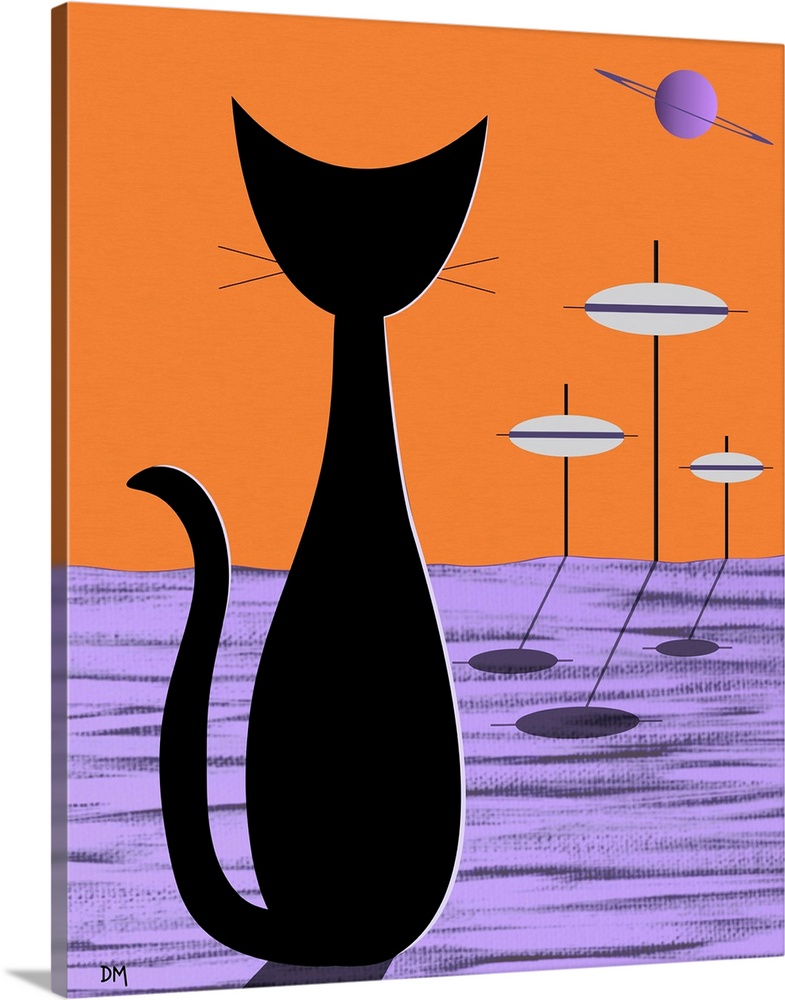Solid-Faced Canvas Print Wall Art entitled Space Cat arancia Sky