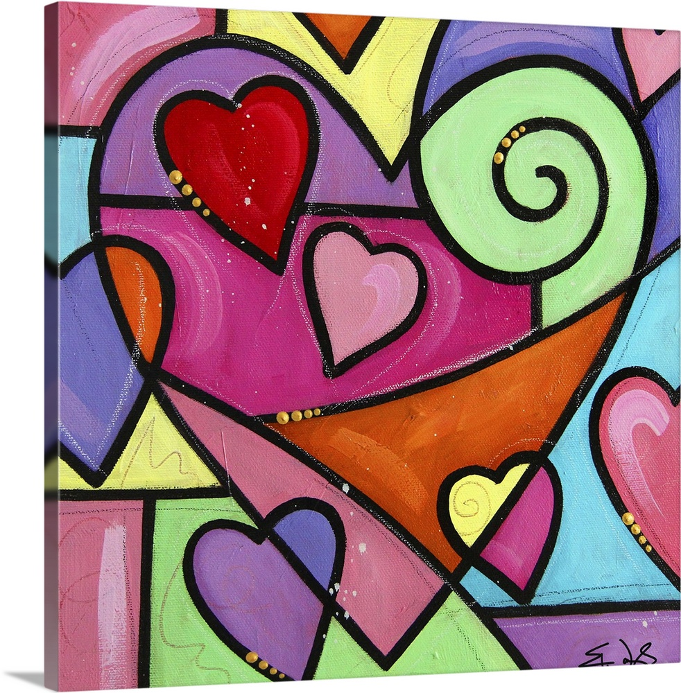 Large Solid-Faced Canvas Print Wall Art Print 20 x 20 entitled Colourful Love I Solid-Faced Canvas Print entitled Colourful Love I.  Multiple sizes available.  Primary colors within this image include Orange, Dark Red, Light Green, Black.  Made in the USA.  All products come with a 365 day workmanship guarantee.  Archival-quality UV-resistant inks.  Archival inks prevent fading and preserve as much fine detail as possible with no over-saturation or color shifting.  Canvas is handcrafted and made-to-order in the United States using high quality artist-grade canvas.