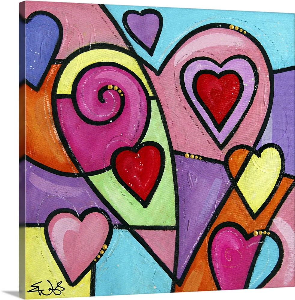 Large Solid-Faced Canvas Print Wall Art Print 20 x 20 entitled Colourful Love II Solid-Faced Canvas Print entitled Colourful Love II.  Multiple sizes available.  Primary colors within this image include Brown, Light Yellow, Black, Light Gray Blue.  Made in the USA.  Satisfaction guaranteed.  Archival-quality UV-resistant inks.  Canvas is handcrafted and made-to-order in the United States using high quality artist-grade canvas.  Archival inks prevent fading and preserve as much fine detail as possible with no over-saturation or color shifting.