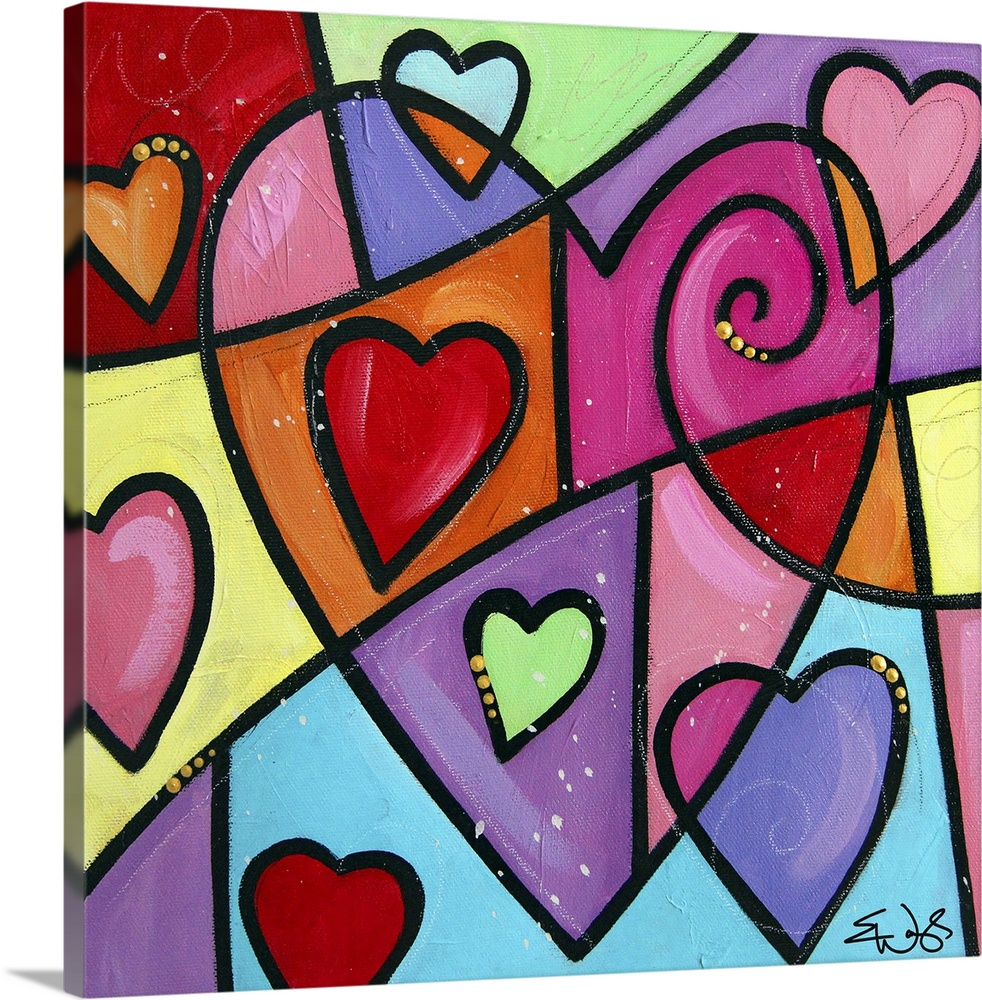 Large Solid-Faced Canvas Print Wall Art Print 20 x 20 entitled Colourful Love III Solid-Faced Canvas Print entitled Colourful Love III.  Multiple sizes available.  Primary colors within this image include Dark Red, Light Yellow, Black, White.  Made in USA.  Satisfaction guaranteed.  Archival-quality UV-resistant inks.  Archival inks prevent fading and preserve as much fine detail as possible with no over-saturation or color shifting.  Canvas depth is 1.25 and includes a finished backing with pre-installed hanging hardware.