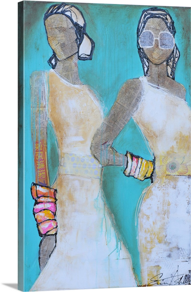 Large Gallery-Wrapped Canvas Wall Art Print 16 x 24 entitled Downtown Chic Gallery-Wrapped Canvas entitled Downtown Chic.  Large, vertical artwork of two fashionable female figures, there bodies and faces composed of collage newsprint paper, while their hair, clothing and accessories are painted or drawn on.  Multiple sizes available.  Primary colors within this image include Pink, Peach, Gray, Pale Blue.  Made in the USA.  Satisfaction guaranteed.  Inks used are latex-based and designed to last.  Museum-quality, artist-grade canvas mounted on sturdy wooden stretcher bars 1.5 thick.  Comes ready to hang.  Canvases are stretched across a 1.5 inch thick wooden frame with easy-to-mount hanging hardware.