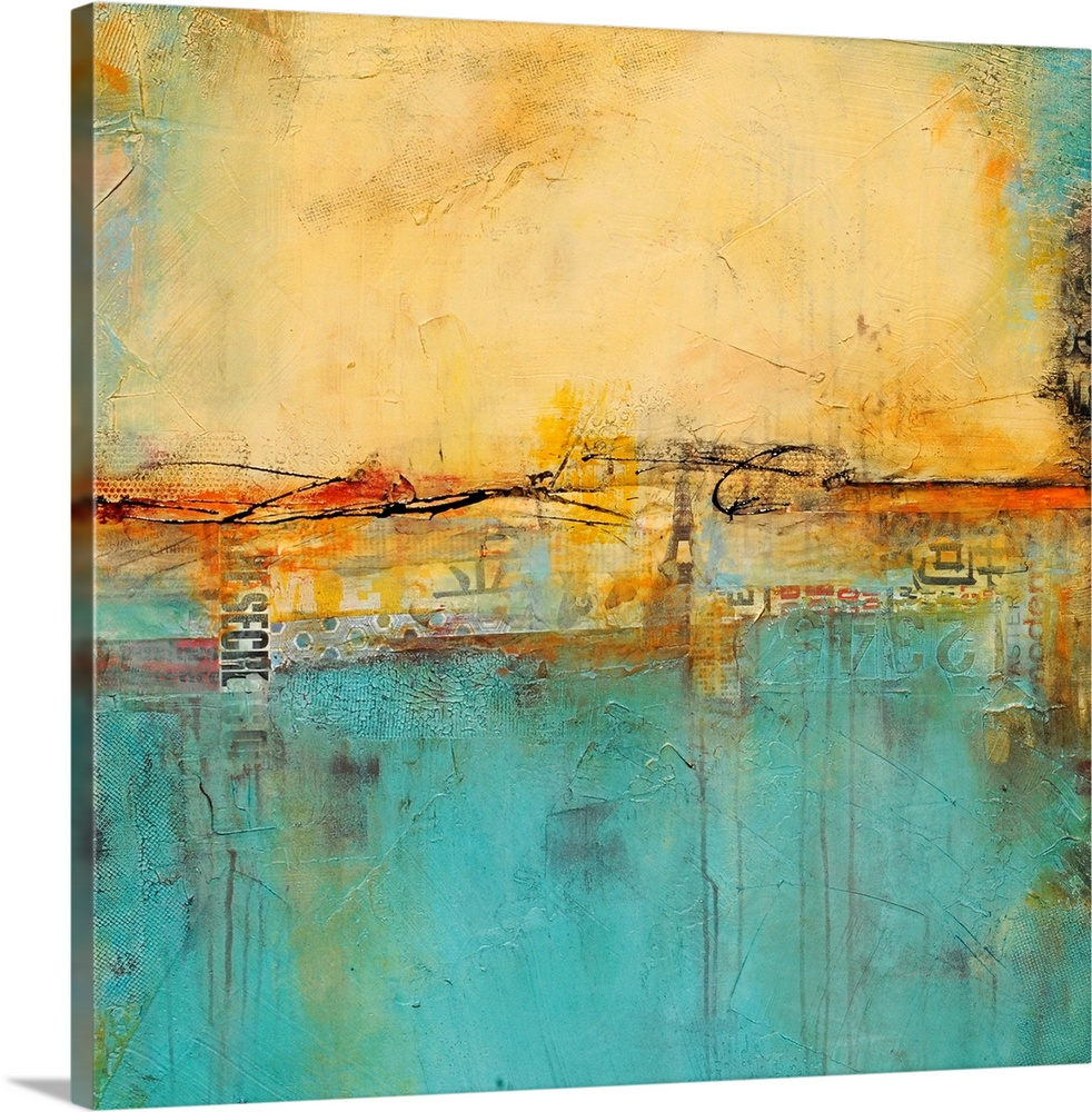 Large Solid-Faced Canvas Print Wall Art Print 20 x 20 entitled Love Notes Solid-Faced Canvas Print entitled Love Notes.  A contemporary abstract painting with cool colors accented with warm, earthy tones.  Multiple sizes available.  Primary colors within this image include Red, Brown, Peach, Teal.  Made in USA.  All products come with a 365 day workmanship guarantee.  Inks used are latex-based and designed to last.  Canvas is handcrafted and made-to-order in the United States using high quality artist-grade canvas.  Featuring a proprietary design, our canvases produce the tightest corners without any bubbles, ripples, or bumps and will not warp or sag over time.