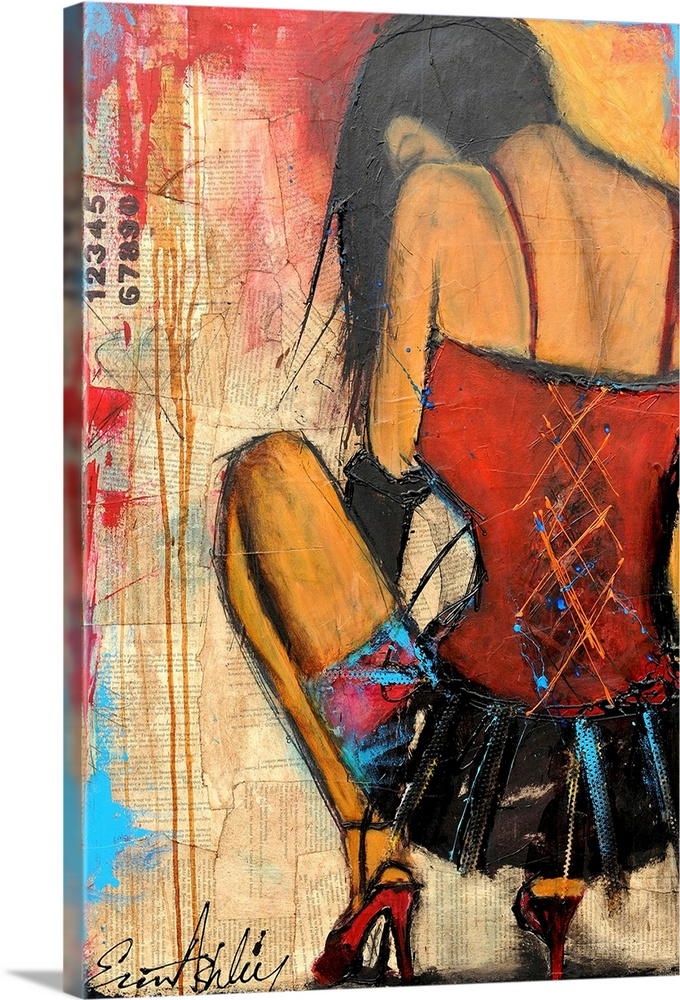 Large Gallery-Wrapped Canvas Wall Art Print 16 x 24 entitled Private Dancer Gallery-Wrapped Canvas entitled Private Dancer.  Giant contemporary art looks at the back of a female dancer in a short skirt and high heels represented in a squatting position.  Artist constructs the background of this piece out of torn pages from a book that have portions and streaks of paint layered on top of them.  Multiple sizes available.  Primary colors within this image include Dark Red Peach Black Teal.  Made in USA.  All products come with a 365 day workmanship guarantee.  Archival-quality UV-resistant inks.  Canvas frames are built with farmed or reclaimed domestic pine or poplar wood.  Canvases have a UVB protection built in to protect against fading and moisture and are designed to last for over 100 years.