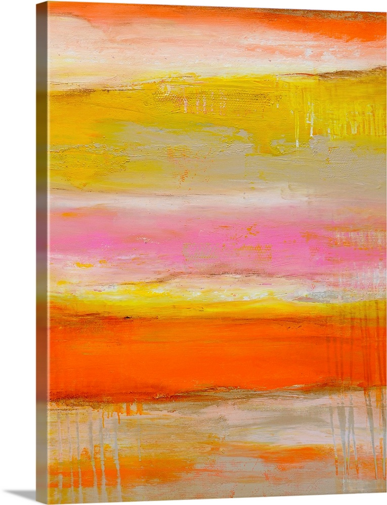 Large Solid-Faced Canvas Print Wall Art Print 30 x 40 entitled Sherbet Summer Love Solid-Faced Canvas Print entitled Sherbet Summer Love.  Tall abstract painting of various bright colors layered horizontally with textured brush strokes.  Multiple sizes available.  Primary colors within this image include Orange, Yellow, Dark Red, Peach.  Made in USA.  All products come with a 365 day workmanship guarantee.  Archival-quality UV-resistant inks.  Archival inks prevent fading and preserve as much fine detail as possible with no over-saturation or color shifting.  Featuring a proprietary design, our canvases produce the tightest corners without any bubbles, ripples, or bumps and will not warp or sag over time.