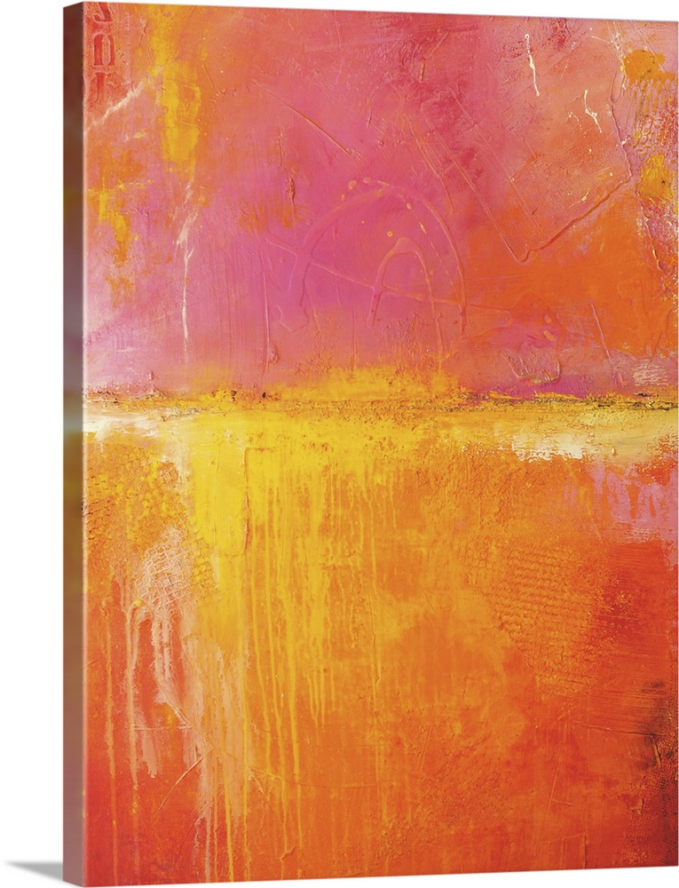 Large Solid-Faced Canvas Print Wall Art Print 30 x 40 entitled Spicy Love Child Solid-Faced Canvas Print entitled Spicy Love Child.  Contemporary abstract artwork in hot, intense colors, reminiscent of the ocean horizon during a sunset.  Multiple sizes available.  Primary colors within this image include Orange, Pink, Peach, Light Yellow.  Made in the USA.  Satisfaction guaranteed.  Archival-quality UV-resistant inks.  Canvas is handcrafted and made-to-order in the United States using high quality artist-grade canvas.  Archival inks prevent fading and preserve as much fine detail as possible with no over-saturation or color shifting.