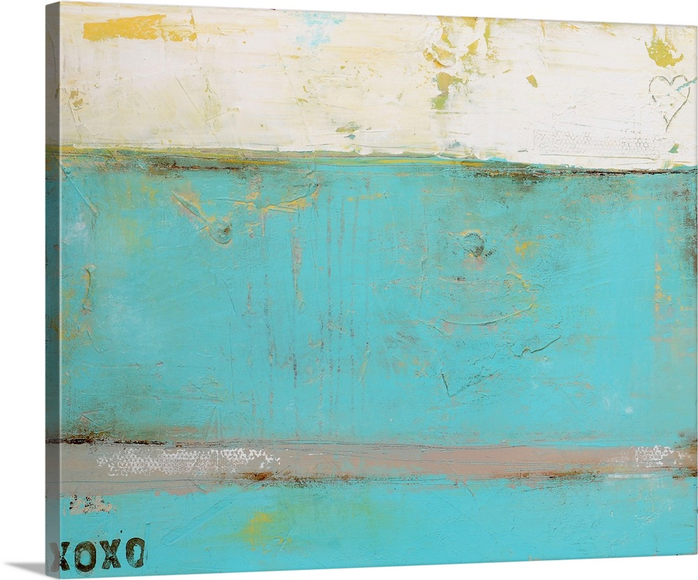 Large Solid-Faced Canvas Print Wall Art Print 30 x 24 entitled Still Loving You Solid-Faced Canvas Print entitled Still Loving You.  This abstract painting is filled with distressed textures and two romantic details the letters oxoxoo on the bottom left and a heart scratched into the paint on the top right.  Multiple sizes available.  Primary colors within this image include Peach, Silver, Dark Forest Green.  Made in USA.  All products come with a 365 day workmanship guarantee.  Archival-quality UV-resistant inks.  Canvas depth is 1.25 and includes a finished backing with pre-installed hanging hardware.  Featuring a proprietary design, our canvases produce the tightest corners without any bubbles, ripples, or bumps and will not warp or sag over time.