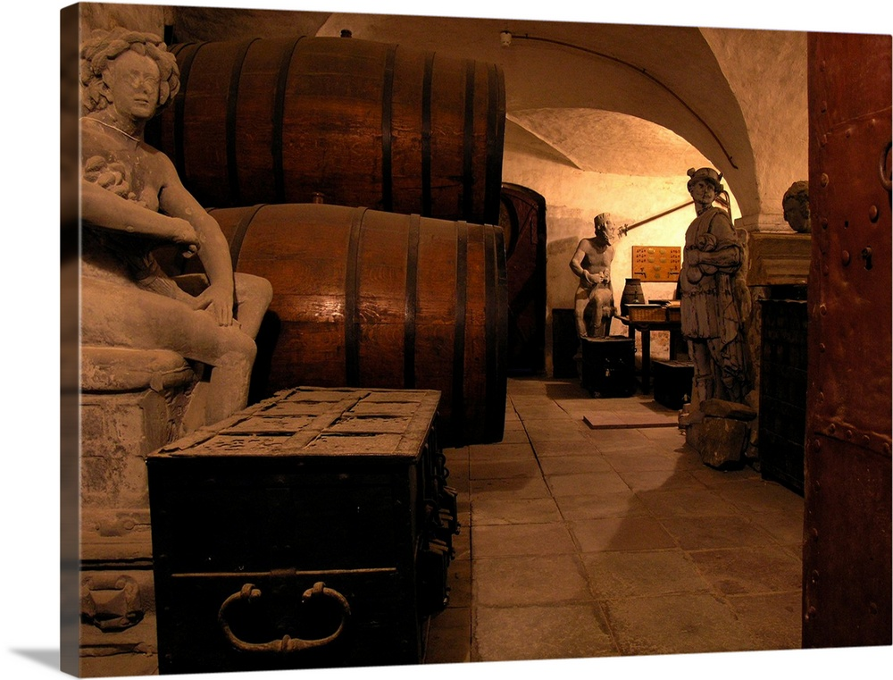 Large Solid-Faced Canvas Print Wall Art Print 40 x 30 entitled Denmark, Copenhagen, Rosenborg Slot (castle), wine cellar Solid-Faced Canvas Print entitled Denmark, Copenhagen, Rosenborg Slot castle, wine cellar.  OLYMPUS DIGITAL CAMERA         .  Multiple sizes available.  Primary colors within this image include Orange, Brown, Peach, Black.  Made in the USA.  Satisfaction guaranteed.  Inks used are latex-based and designed to last.  Featuring a proprietary design, our canvases produce the tightest corners without any bubbles, ripples, or bumps and will not warp or sag over time.  Canvas is handcrafted and made-to-order in the United States using high quality artist-grade canvas.