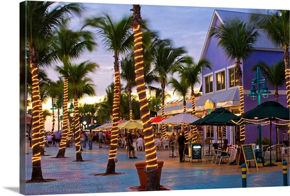 Large Solid-Faced Canvas Print Wall Art Print 30 x 20 entitled Florida, Fort Myers beach, Times Square Solid-Faced Canvas Print entitled Florida, Fort Myers beach, Times Square.  United States, USA, Florida, Fort Myers beach, Times Square.  Multiple sizes available.  Primary colors within this image include Yellow, Brown, Black, White.  Made in the USA.  All products come with a 365 day workmanship guarantee.  Archival-quality UV-resistant inks.  Canvas depth is 1.25 and includes a finished backing with pre-installed hanging hardware.  Featuring a proprietary design, our canvases produce the tightest corners without any bubbles, ripples, or bumps and will not warp or sag over time.